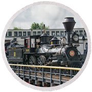 Western And Atlantic 4-4-0 Steam Locomotive Round Beach Towel