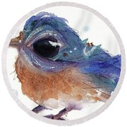 Round Beach Towel featuring the painting Western Bluebird by Dawn Derman