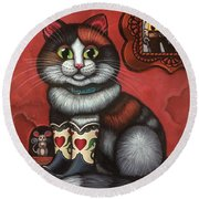 Western Boots Cat Painting Round Beach Towel