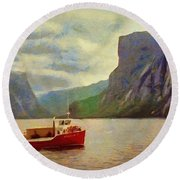 Round Beach Towel featuring the painting Western Brook Pond by Jeff Kolker