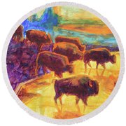 Western Buffalo Art Bison Creek Sunset Reflections Painting T Bertram Poole Round Beach Towel