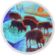 Western Buffalo Art Six Bison At Sunset Turquoise Painting Bertram Poole Round Beach Towel by Thomas Bertram POOLE