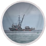 Western Gambler And Marinet Round Beach Towel by Randy Hall