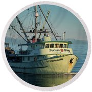 Round Beach Towel featuring the photograph Western King At Breakwater by Randy Hall