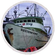 Round Beach Towel featuring the photograph Western King At Discovery Harbour by Randy Hall