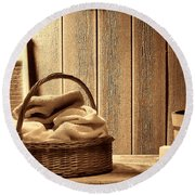 Western Laundromat   Round Beach Towel by American West Legend By Olivier Le Queinec