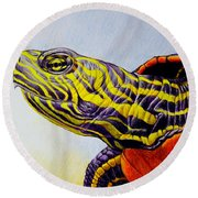 Western Painted Turtle Round Beach Towel