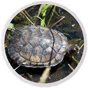 Western Pond Turtle, Actinemys Marmorata Round Beach Towel
