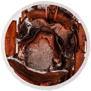 Round Beach Towel featuring the photograph Western Saddle by Dany Lison