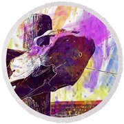 Round Beach Towel featuring the digital art Western Skull Farm Trophy Skeleton  by PixBreak Art