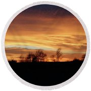 Round Beach Towel featuring the photograph Western Sky December 2015 by J L Zarek