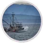 Round Beach Towel featuring the photograph Western Sunrise by Randy Hall