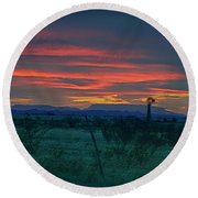 Western Texas Sunset Round Beach Towel