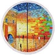Western Wall Jerusalem Wailing Wall Acrylic Painting 2 Panels Round Beach Towel