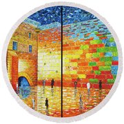 Round Beach Towel featuring the painting Western Wall Jerusalem Wailing Wall Acrylic Painting 2 Panels by Georgeta Blanaru