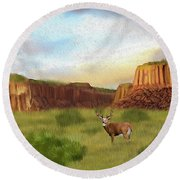 Western Whitetail Deer Round Beach Towel