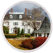 Round Beach Towel featuring the photograph Westglow In Autumn by Karen Wiles