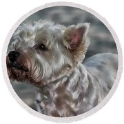 Westie Love Round Beach Towel
