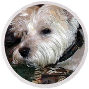 Westie Round Beach Towel by Mindy Newman