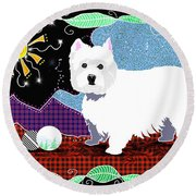 Westie Patchwork Round Beach Towel