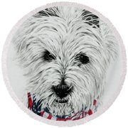 Westie Round Beach Towel by Terri Mills
