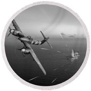 Round Beach Towel featuring the photograph Westland Whirlwind Attacking E-boats Black And White Version by Gary Eason