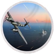 Round Beach Towel featuring the photograph Westland Whirlwind Attacking E-boats by Gary Eason