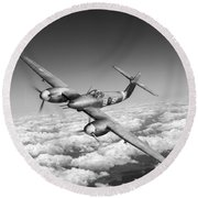 Round Beach Towel featuring the photograph Westland Whirlwind Portrait Black And White Version by Gary Eason