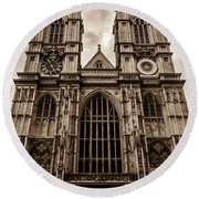 Westminister Abbey Sepia Round Beach Towel