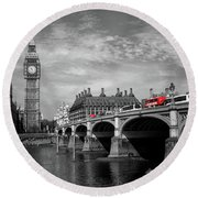 Round Beach Towel featuring the photograph Westminster Bridge And Big Ben London by Lynn Bolt