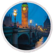 Westminster Bridge At Night Round Beach Towel by Inge Johnsson