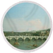 Westminster Bridge From The North With Lambeth Palace In Distance Round Beach Towel
