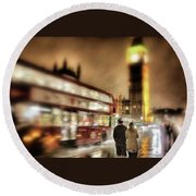 Westminster Bridge In Rain Round Beach Towel