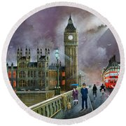 Round Beach Towel featuring the painting Westminster Bridge by Ken Wood