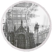 Westminster In London Round Beach Towel