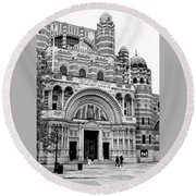 Westminster Cathedral London England Round Beach Towel