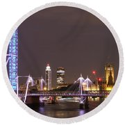 Westminster From Waterloo Bridge London Round Beach Towel
