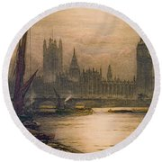 Westminster London 1920 Round Beach Towel by Padre Art