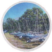 Weston Shore Boats At Yacht Club, Southampton Round Beach Towel
