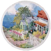Westport By The Sea Round Beach Towel