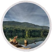 Round Beach Towel featuring the photograph Westwood Lake by Randy Hall