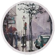 Round Beach Towel featuring the painting Wet Afternoon by Geni Gorani