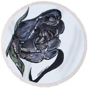 Wet Charcoal Rose Round Beach Towel