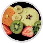 Round Beach Towel featuring the photograph Wet Fruit by Shane Bechler
