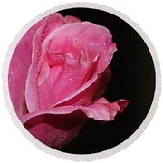 Round Beach Towel featuring the photograph Wet Pink Rose by Jennifer Muller