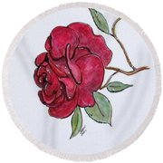 Wet Rose Round Beach Towel