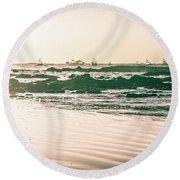 Round Beach Towel featuring the photograph Wet Sunset Walk by T Brian Jones