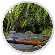 Wet Trail Round Beach Towel by Jonathan Davison