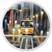 Wet Tram California Round Beach Towel