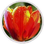 Wet Tulip Round Beach Towel